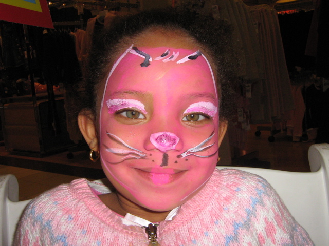 pink kitty face painting NYC
