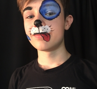 Puppy Blue Dog Face Painting NYC by Kiki