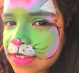 Rainbow Cat Face Painting NYC by Kiki