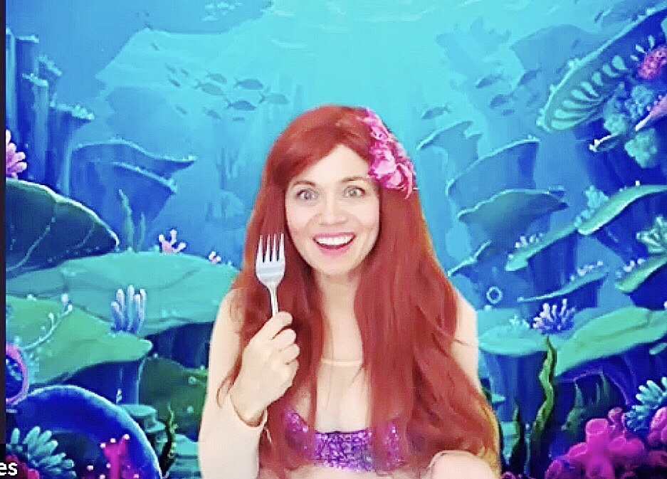 Virtual Little Mermaid Party kids birthday magic show worldwide