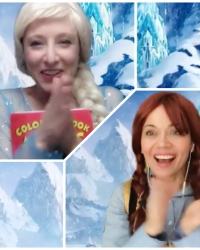 Virtual Snow Queen and Ana princess magic show zoom