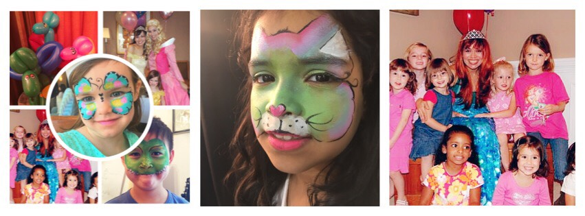 Party entertainment kids face painter and balloons, princesses princess face painting clowns toddler party Corporate event balloon art childrens events NYC Manhattan Brooklyn Westchester CT