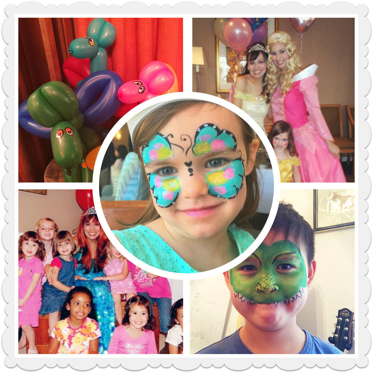 Anna Elsa Ariel Mermaid Sleeping Beauty Cinderella Pretty Face Painting balloons birthday party NYC balloonist face painters corporate events NYC entertainers kids children's entertainer princess Belle Frozen