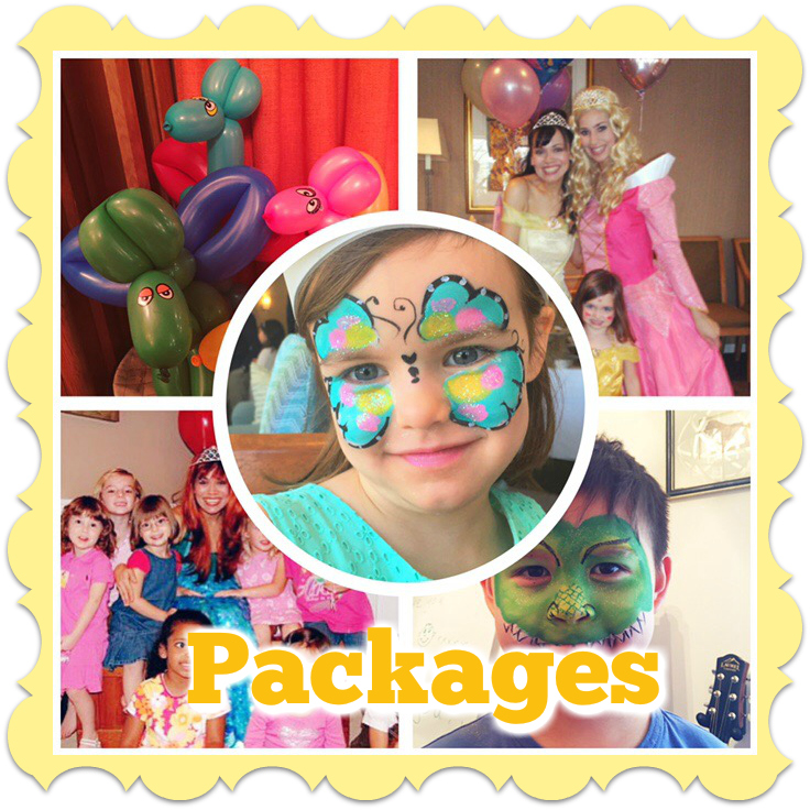 face painter and balloon artist kids party entertainment packages princesses Elsa Anna Clowns toddler parties face painting corporate party