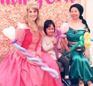 Princess Birthday Party Characters Sleeping Beauty and Jasmine, princess face painting, princess balloon artists, princess magic shows NYC
