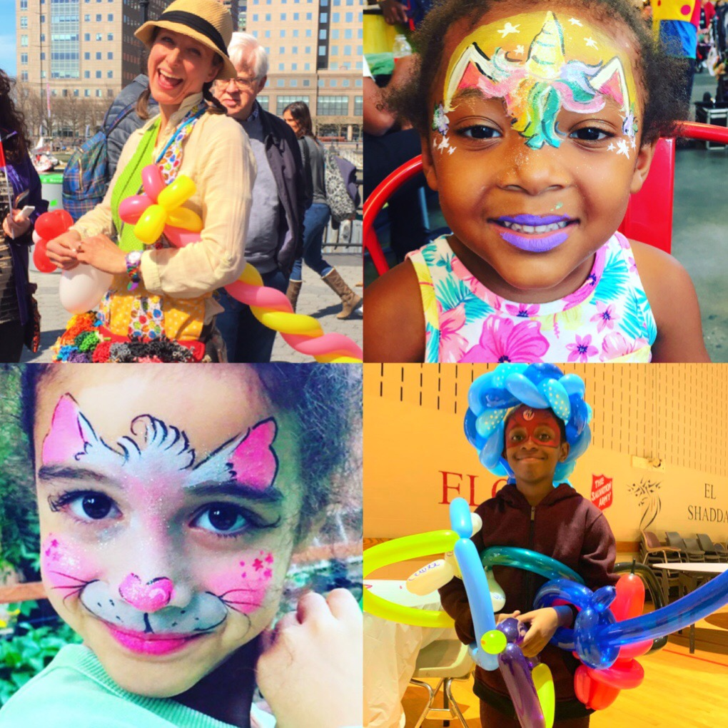 corporate event face painters balloon artists face painting facepainter Balloonist NYC company kids day promotional event Halloween Holiday Christmas Midtown FiDi Soho Tribeca Wall St. Union Square UWS UES Chelsea Times Square Hudson Yards Brooklyn NJ Hoboken