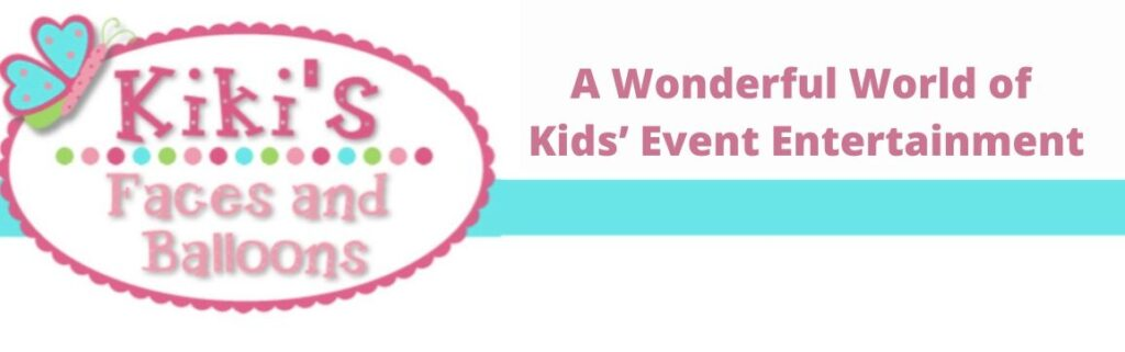 Kiki's faces and balloons childrens party entertainment header logo